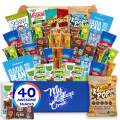 My College Crate - 40 Piece Healthy Care Package - Snack Box Variety Pack for Adults - Bulk Food Box with Veggie Straws, Skinny Pop, Granola Bars, Nuts, Fruit Bars and Fig Bars