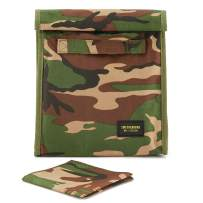 Reusable Lunch Sack Bag with Extra Storage Pockets and Washable Napkin for School and Work - Large Capacity Foldable Insulated Lunch Bag Tote for Men and Women (Camo)