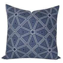 SLOW COW Decorative Velvet Throw Pillow Cover Cushion Cover Modern Triangles Kaleidoscope Printed Abstract Pillow Cover 18 x 18 Inches Navy Blue