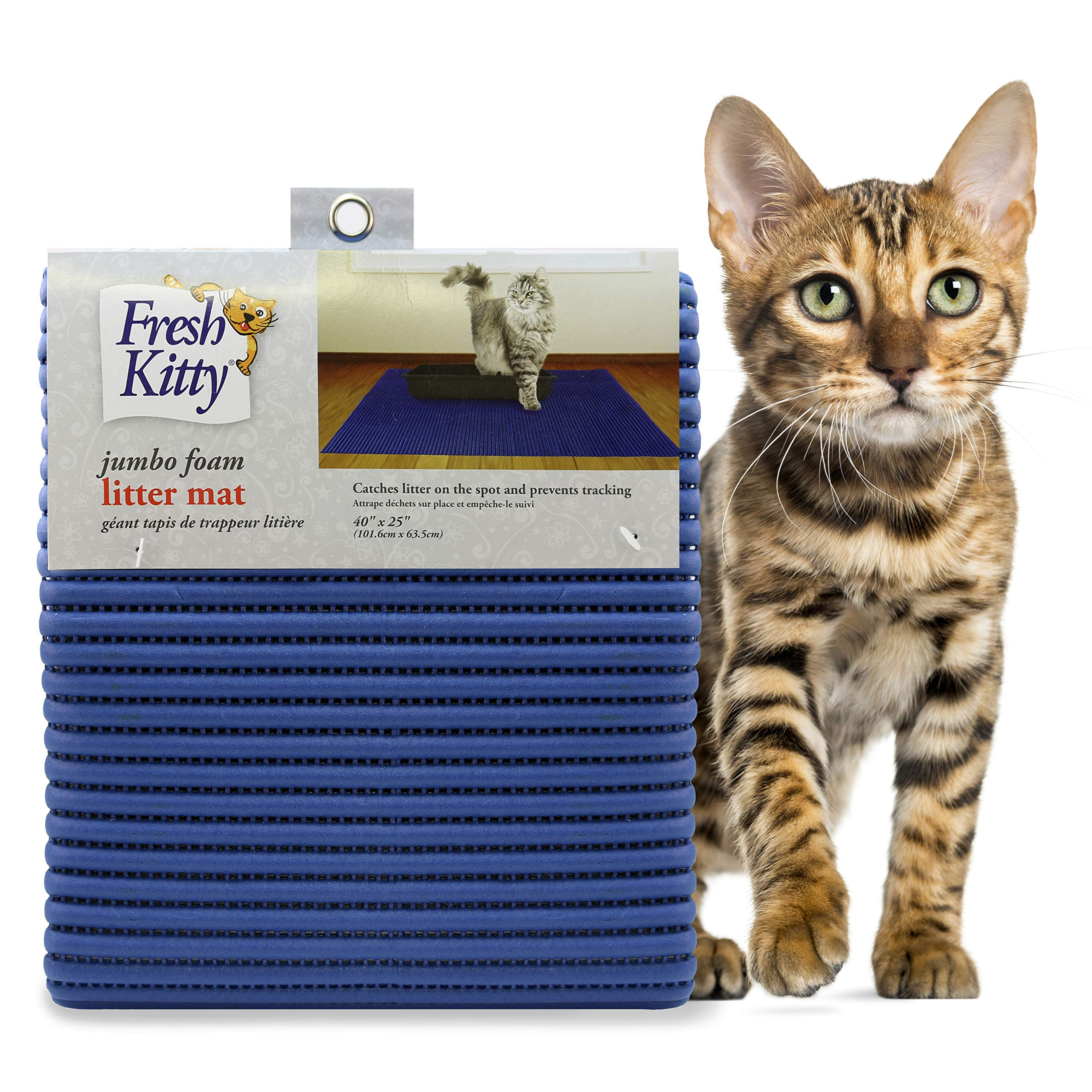 Fresh Kitty Durable XL Jumbo Foam Litter Mat – Phthalate and BPA Free, Water Resistant, Traps Litter from Box, Scatter Control, Easy Clean Mats – Blue (9032)