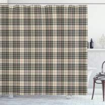 """Ambesonne Abstract Shower Curtain, Traditional Tartan Pattern British Clan Royal Vintage Heraldry Design, Cloth Fabric Bathroom Decor Set with Hooks, 70"""" Long, Beige Taupe"""