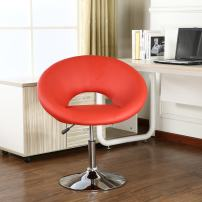 Roundhill Furniture Contemporary Chrome Adjustable Swivel Chair with Red Seat