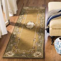 """Safavieh Classic Collection CL280A Handmade Traditional Oriental Light Gold and Green Wool Runner (2'3"""" x 12')"""