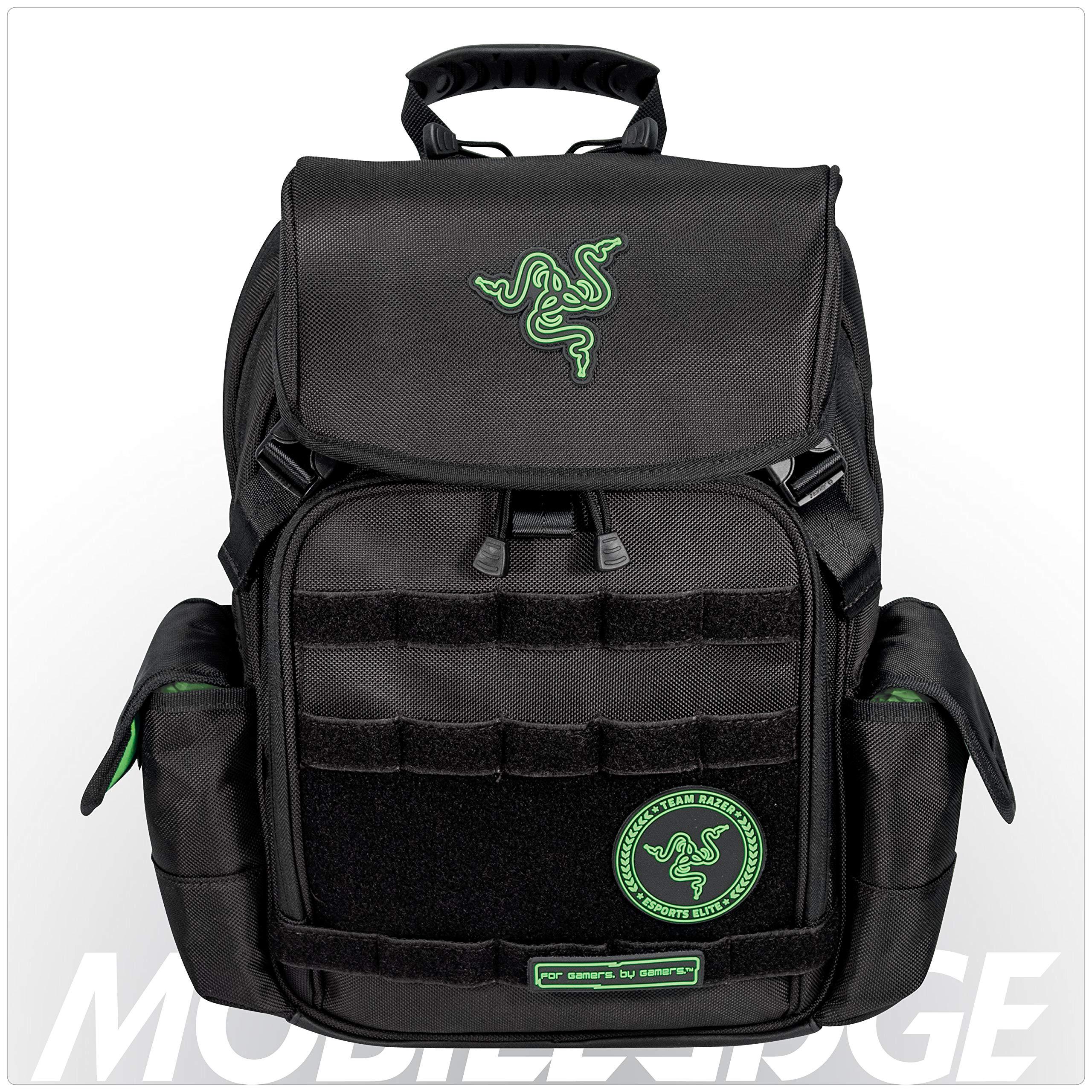 Mobile Edge Razer Tactical 15 Inch Laptop Gaming Backpack, Black, Rugged Ballistic Material, Padded Laptop Section, Tablet Pocket, Water-Resistant, RAZERBP15