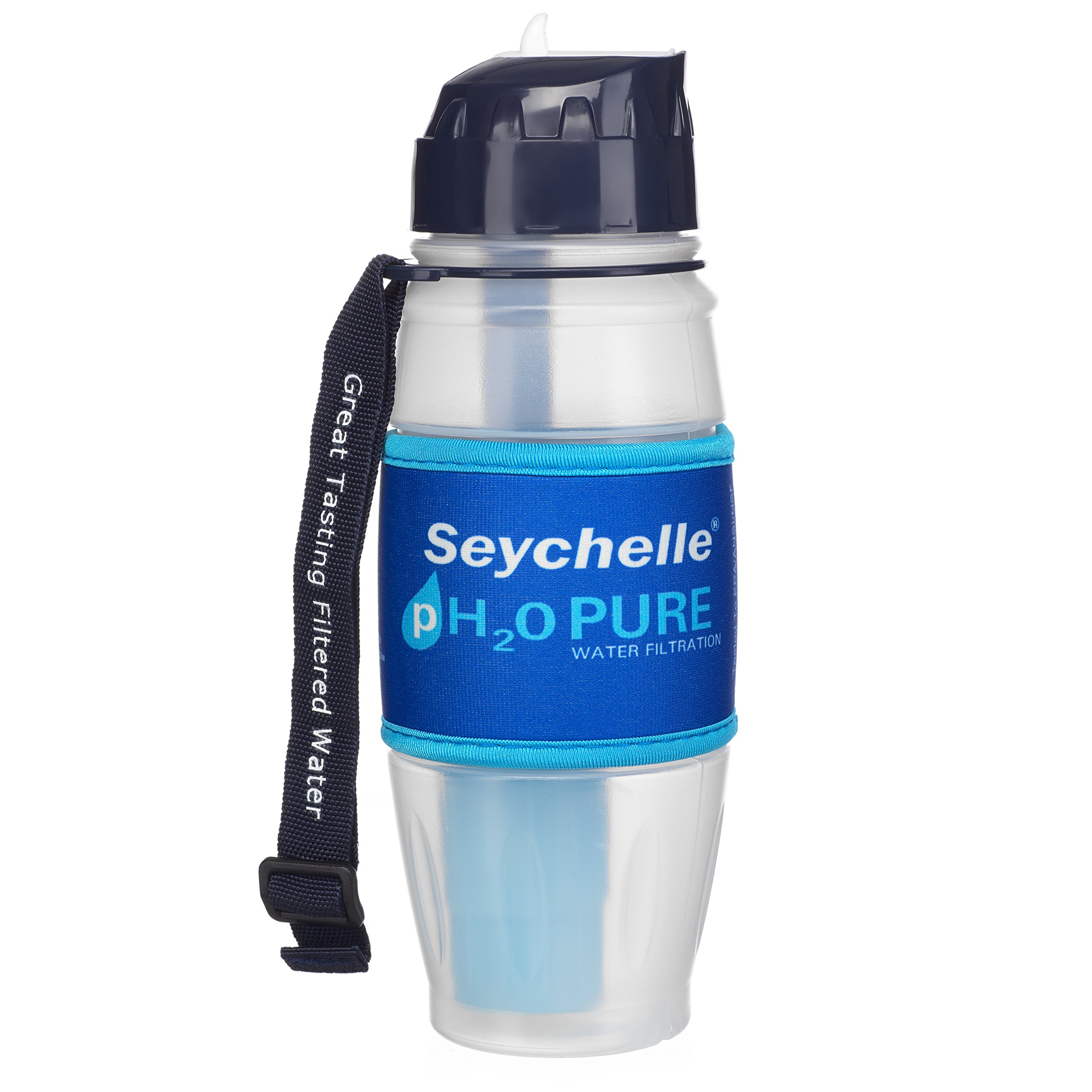 Seychelle pH2O Alkaline Water Filter Bottle - Enhances pH and Filters Water - BPA Free - 28 oz