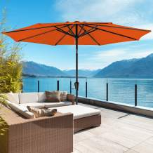 ROWHY 11ft Patio Umbrella Outdoor Table Umbrella Patio Market Large Umbrella with Ventilation and 8 Sturdy Ribs for Garden, Lawn, Deck, Backyard & Pool, Orange