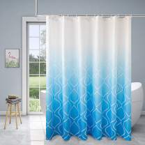Xikaywnt Moroccan Ombre Shower Curtains for Bathroom - Waterproof Textured Fabric Bath Curtain with 12 Hooks, 70 x 72 Inch, Sky Blue