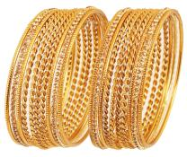 Touchstone New Indian Bollywood Tendy Grain Cut Braid Work Finely Created Bangle Bracelets in Antique Gold Tone. Set of for Women.