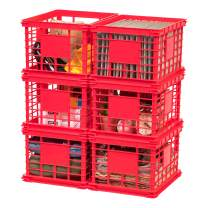 IRIS USA, Inc. SC-LL Letter and Legal Size File Crate, Multi-Purpose Bin, Red, 6 Pack