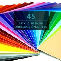 """Bright Idea Permanent Vinyl Sheets - 45 Pack 12""""x12"""" 