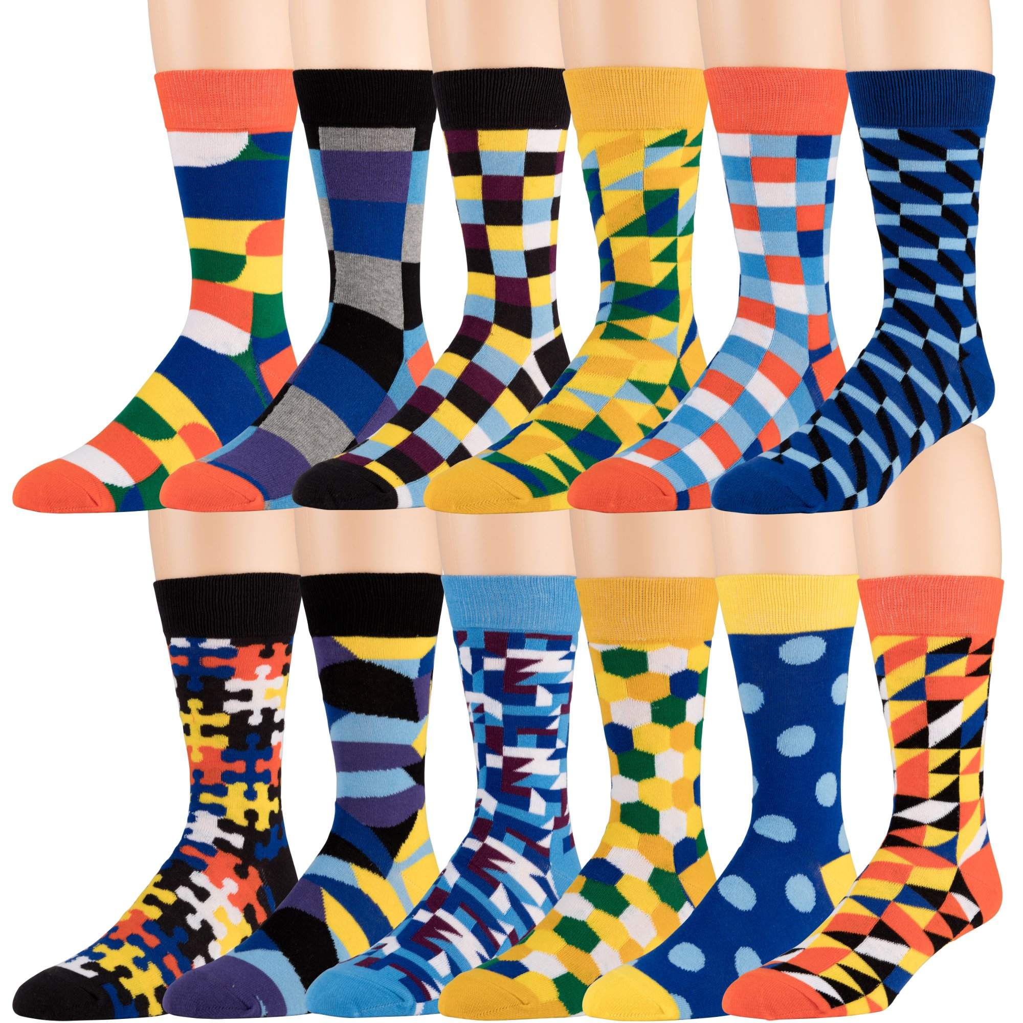 Men's Cotton Blend Socks, Fun and Funky Patterns and Colors -12 Pack
