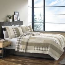 Eddie Bauer Home | Fairview Collection | 100% Cotton Reversible & Light-Weight Quilt Bedspread with Matching Sham, 2-Piece Bedding Set, Pre-Washed for Extra ComfortTwinSand