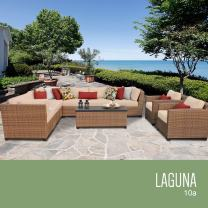 TK Classics 10 Piece Laguna Outdoor Wicker Patio Furniture Set, Wheat 10a