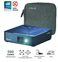 ASUS ZenBeam S2 Portable Mini Wireless Projector with Speakers 500 Lumens Native 720P USB-C HDMI Auto Keystone I Up to 3.5 Hours Battery | 2 Years Warranty