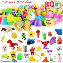 "80 Packs Pre Filled Easter Eggs with Novelty Toys, 2 3/8"" 78 Colorful Easter Eggs with 2 Golden Eggs for Easter Eggs Hunt, Easter Basket Stuffers/Fillers, Easter Theme Party Favor, Classroom Prize Suppliess"