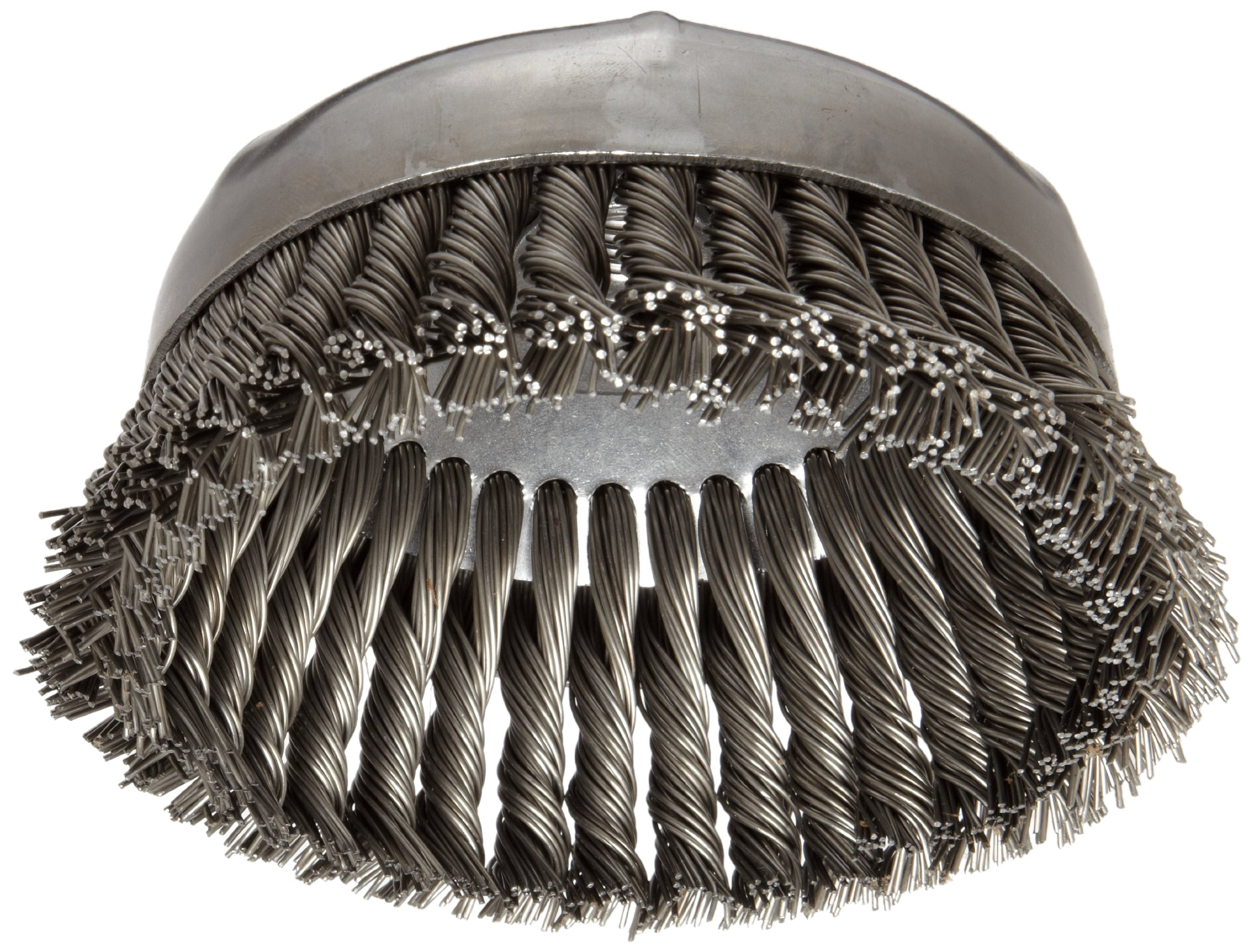 "Weiler 12396 Wire Cup Brush, Threaded Hole, Steel, Partial Twist Knotted, Single Row, 6"" Diameter, 0.035"" Wire Diameter, 5/8""-11 Arbor, 1-3/8"" Bristle Length, 6600 rpm"
