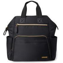 Skip Hop Diaper Bag Backpack, Mainframe Large Capacity Wide Open Structure, Black with Gold Trim