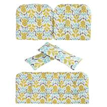 Art Leon Outdoor/Indoor Home Chair Seat Cushions 5 Pieces Seat and Back Cushion Set for Patio Deep Seat,Wicker Loveseat,Settee,Bench(Blue and Yellow Floral)