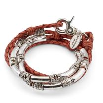 Lizzy James Maxi Silver Plate and Braided Leather Wrap Bracelet Necklace in Natural Red Spice Leather