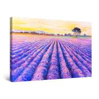 "Startonight Canvas Wall Art Abstract - Solitary Tree in The Lavender Field Painting - Large Artwork Print for Living Room 32"" x 48"""