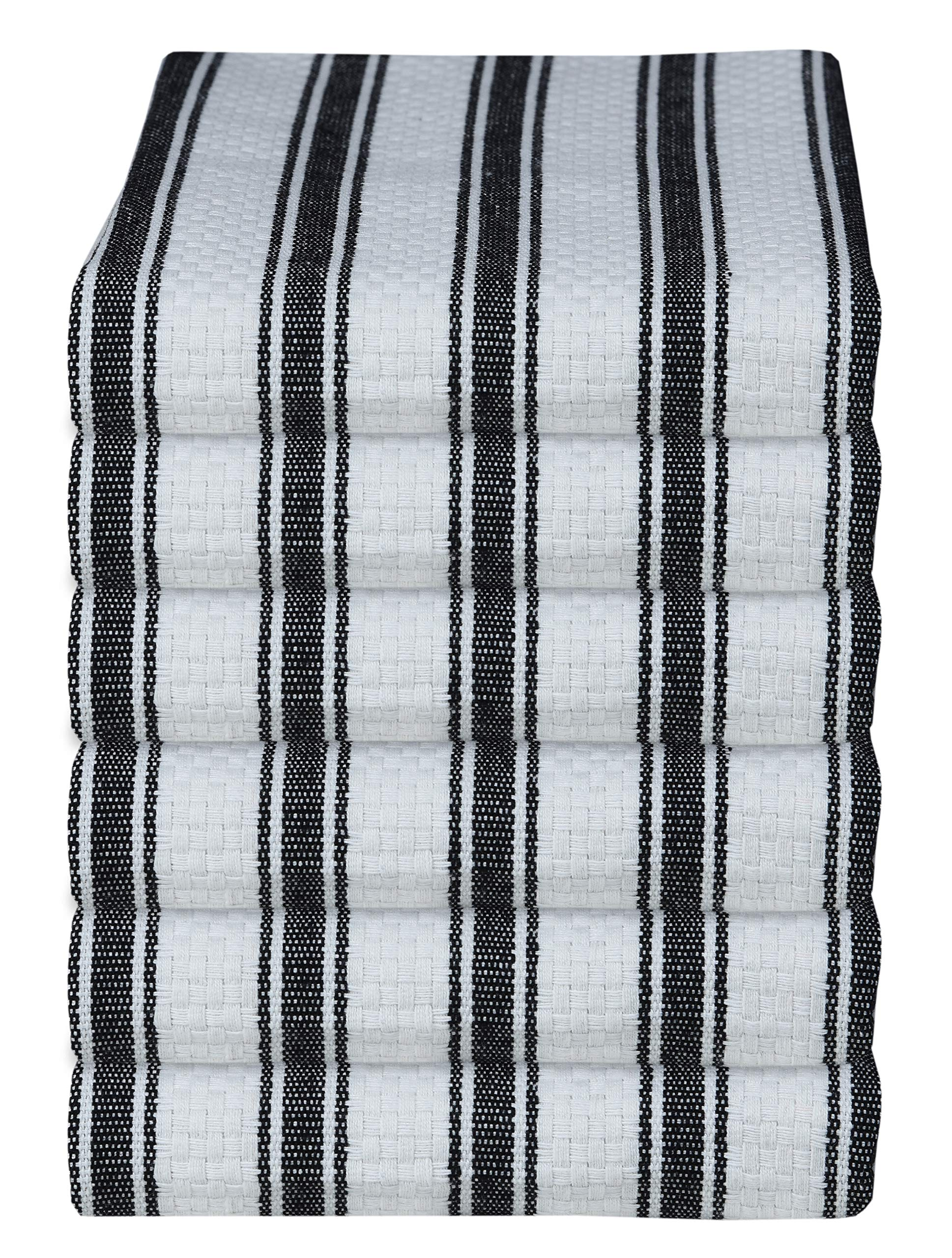GLAMBURG 100% Cotton Kitchen Towels and Dish Cloth Sets, 6 Pack 18x28 Basket Weave Stripe Dish Towels, Tea Towels, Bar Towels, Cleaning Towels, Highly Absorbent Dishcloth, Kitchen Towel Set - Black
