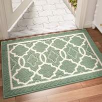 """DEXI Indoor Door Mat, 36""""x24"""" Non-Slip Low-Profile Entrance Rug, Absorbent Machine Washable Front Doormats for Back Door, High Traffic Areas, Green"""