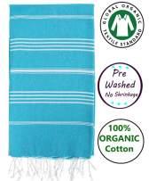 Nature Is Gift Organic Prewashed Cotton Bath Beach Spa Sauna Hammam Yoga Gym Hamam Towel Fouta Peshtemal Pestemal Blanket Blue Atoll 36x70 Inches