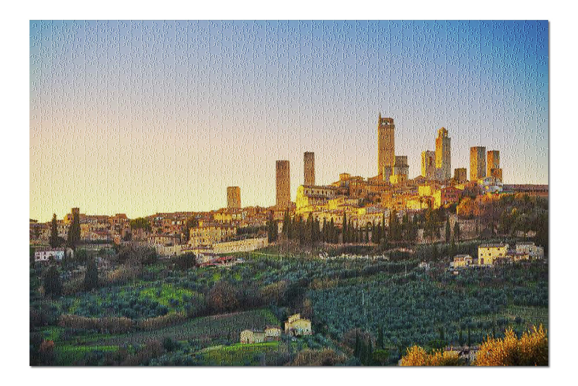 Tuscany, Italy - San Gimignano Town Skyline & Medieval Towers Sunset 9003160 (19x27 Premium 1000 Piece Jigsaw Puzzle, Made in USA!)
