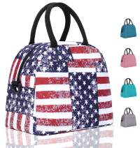 Elvira Insulated Tote Lunch Bag with Removable Adjustable Shoulder Strap for Women Water Resistant Reusable Cooler Lunch Box for Work School Picnic Hiking Beach-American Flag