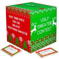Ugly Sweater Contest Ballot Box - Christmas Party Game Supplies with 50 Voting Cards(Assembly Needed)