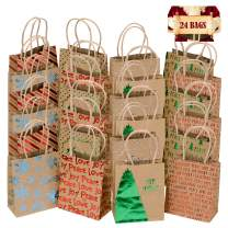 Christmas Holiday Kraft Gift Bags, foil red Green Silver and Blue hot-Stamp Designs,Strong Matching Raffia Handle 24 Small Bags in Assorted Christmas Prints, Christmas Goody Bags Xmas Gift Bags