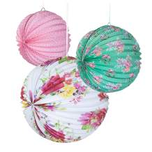 Talking Tables Tea Party Decorations Floral Paper Lantern Plates Vintage Party for Birthdays, Bridal shower, Baby shower, 3 Sizes, Pack of 3, Pastel colors, Model:TS4-PAPERLANTERN