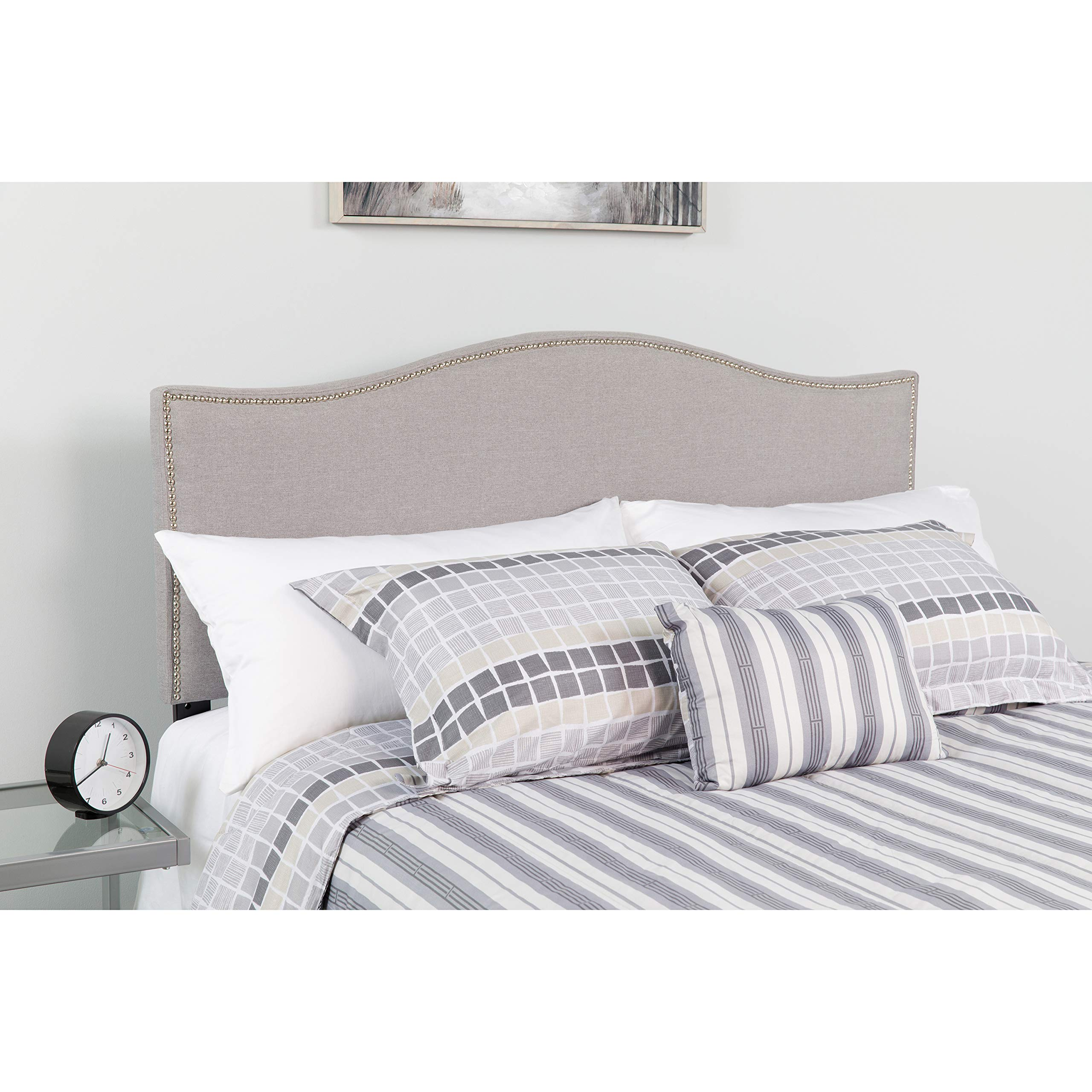 Flash Furniture Lexington Upholstered Queen Size Headboard with Accent Nail Trim in Light Gray Fabric