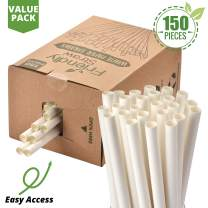 "Friendly Straw 150 Pack Biodegradable Jumbo Smoothie Paper Straws, 7.75"" x .4"" Extra Wide Paper Straws Bulk Pack"