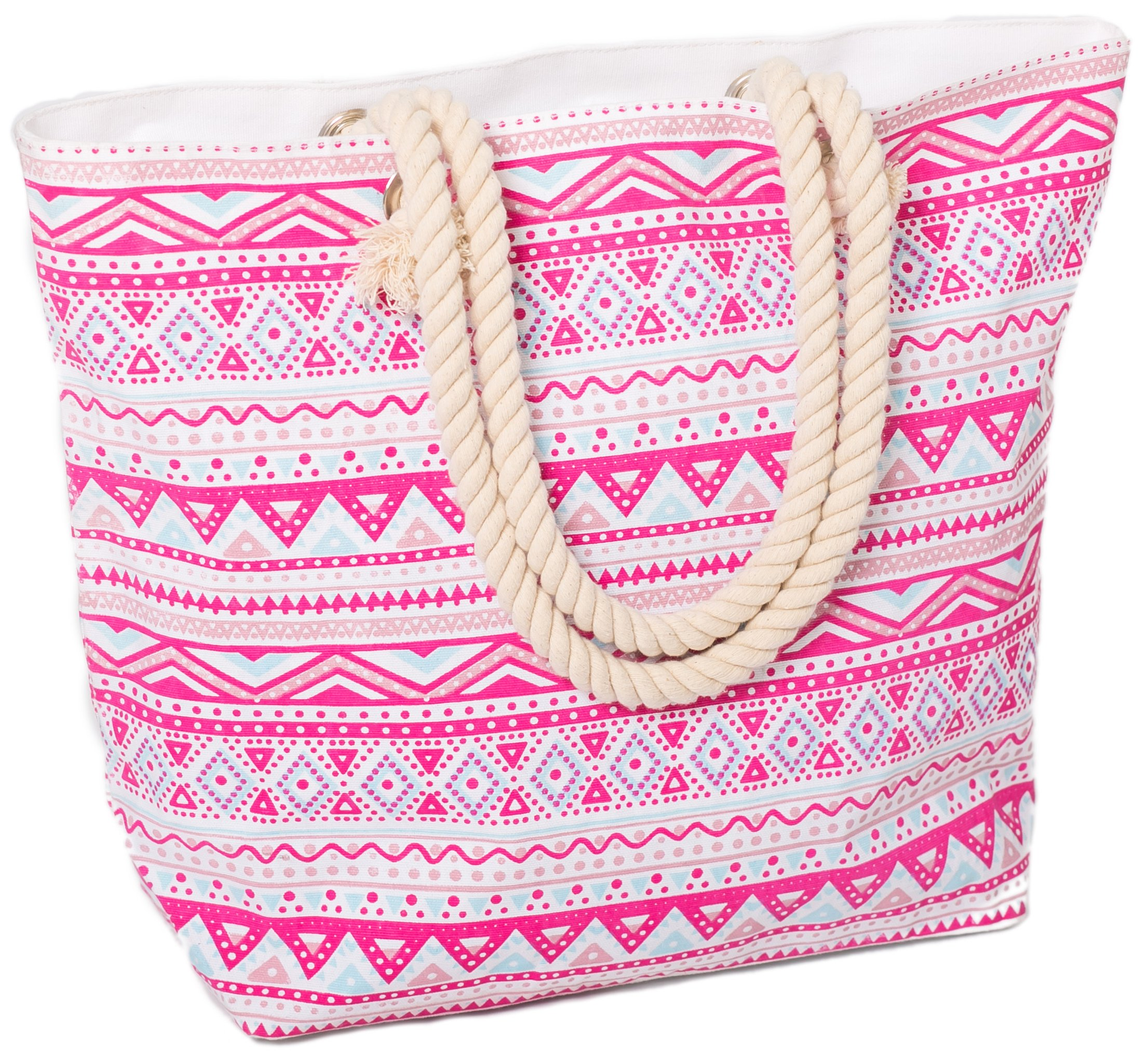 Beach Bag Tote for Women Large Canvas Rope Handles Shoulder Travel Aztec Pattern (Pink)