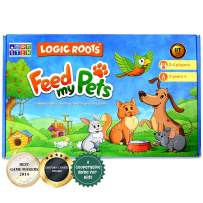LogicRoots Feed My Pet Math Games for Kindergarten and up, Toddlers Toys - Number Recognition, Counting and Sequencing for Kids. 80 Magnetic Tiles and Big Magnetic Board