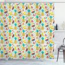 """Ambesonne Food Shower Curtain, Fruits Banana Pomegranate Pineapple Watermelon Lemon Kitchen Cafe Abstract Graphic, Cloth Fabric Bathroom Decor Set with Hooks, 75"""" Long, Multicolor"""
