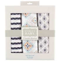 Hudson Baby Unisex Baby Cotton Muslin Swaddle Blankets, Aztec 3-Pack, One Size