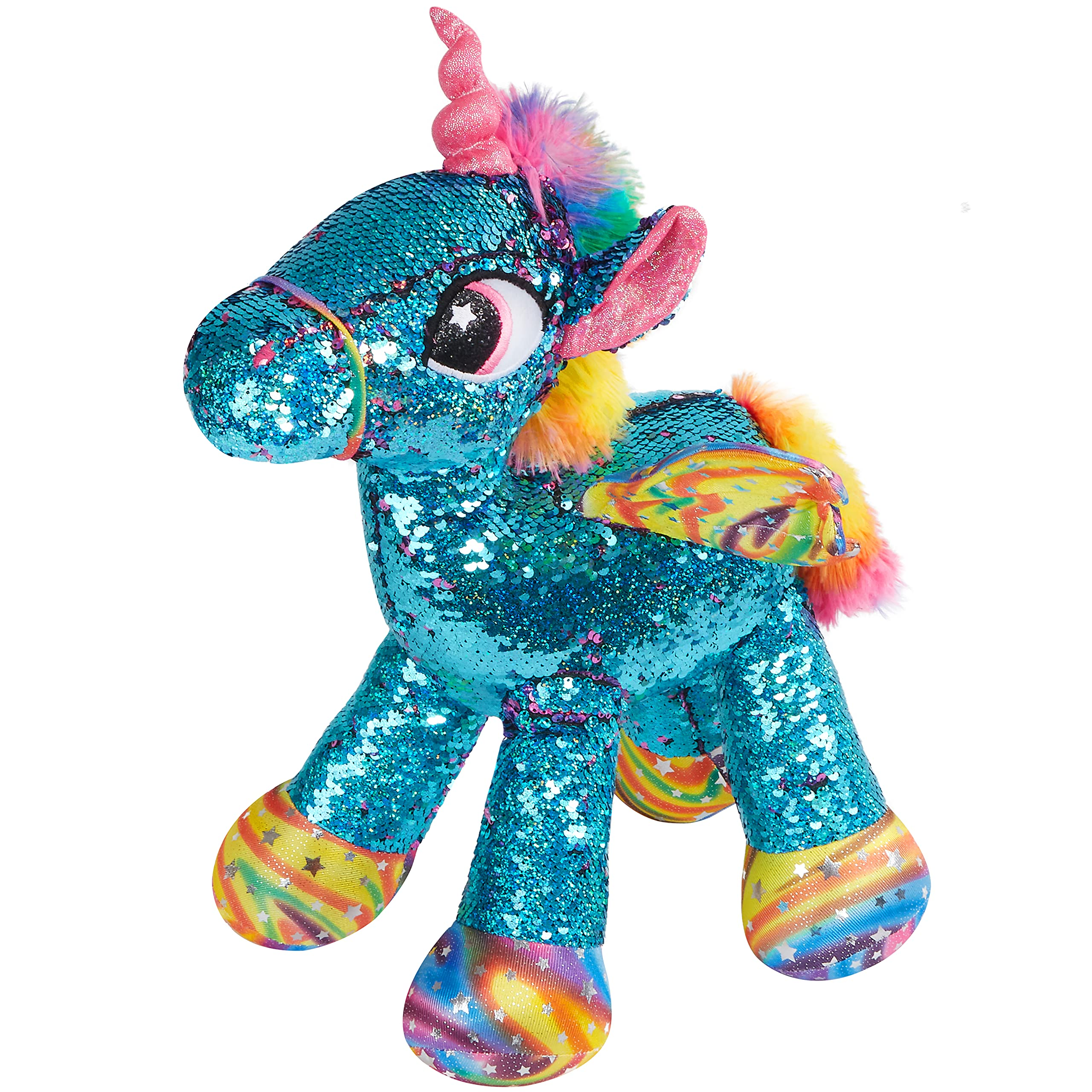 Athoinsu Flippable Sequin Unicorn Stuffed Animal Sparkle Plush Toys with Reversible Glitter Two-Side Sequins Nice Gifts for Kids Friends, Blue, 18''