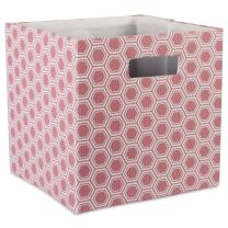 """DII Hard Sided Collapsible Fabric Storage Container for Nursery, Offices, & Home Organization, (13x13x13"""") - Honeycomb Rose"""
