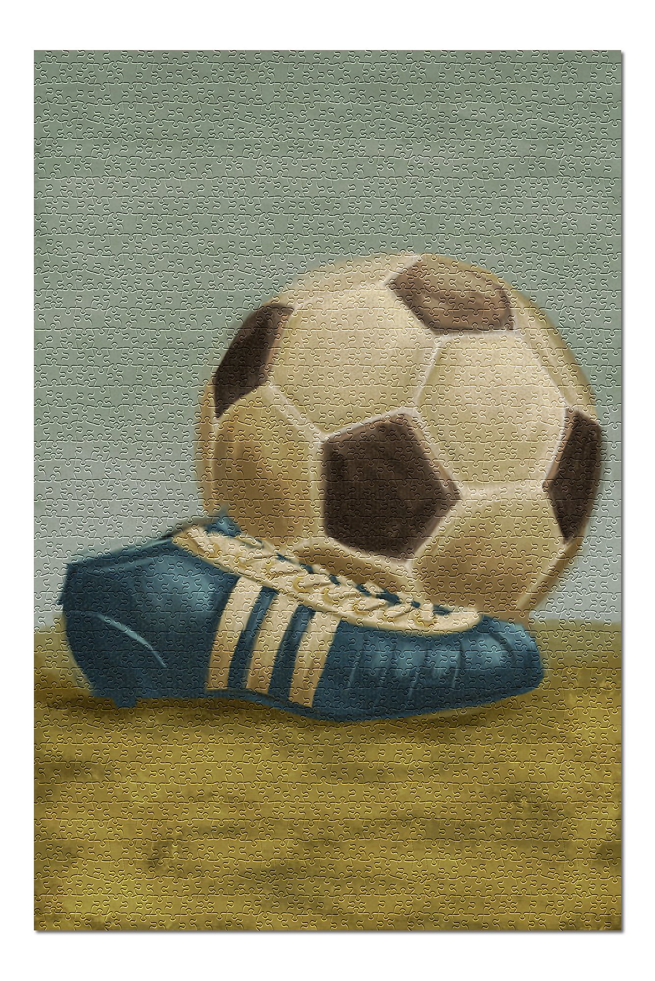 Soccer Ball and Cleat - Oil Painting (Premium 1000 Piece Jigsaw Puzzle for Adults, 20x30, Made in USA!)