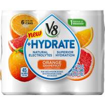 V8 +Hydrate Plant-Based Hydrating Beverage, Orange Grapefruit, 8 oz. Can, 6 Count (Pack of 4)