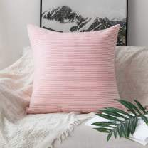 """Home Brilliant Large Pillow Covers Euro Sham Super Soft Striped Velvet Couch Throw Pillow Covers, 24"""" x 24"""" (60cm), Pastel Pink"""