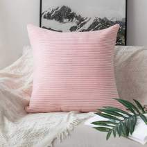 """Home Brilliant Large Pillow Covers Euro Sham Super Soft Striped Velvet Couch Throw Pillow Covers, 26"""" x 26"""" (66cm), Pastel Pink"""
