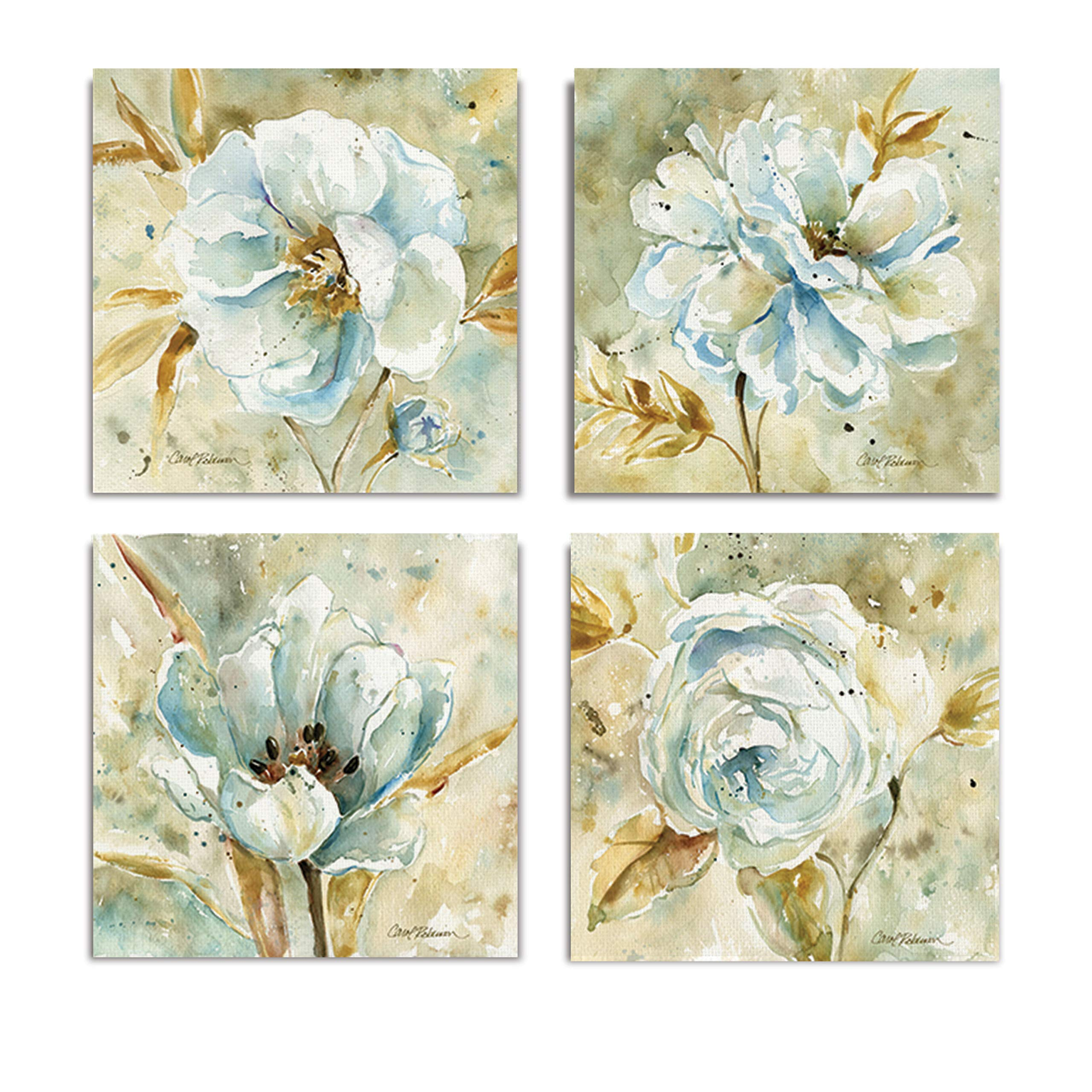 WEXFORD HOME Collection by Carol Robinson Set of 4 Gallery Wrapped Canvas Wall Art, 16x16, Dahlia/Frameless