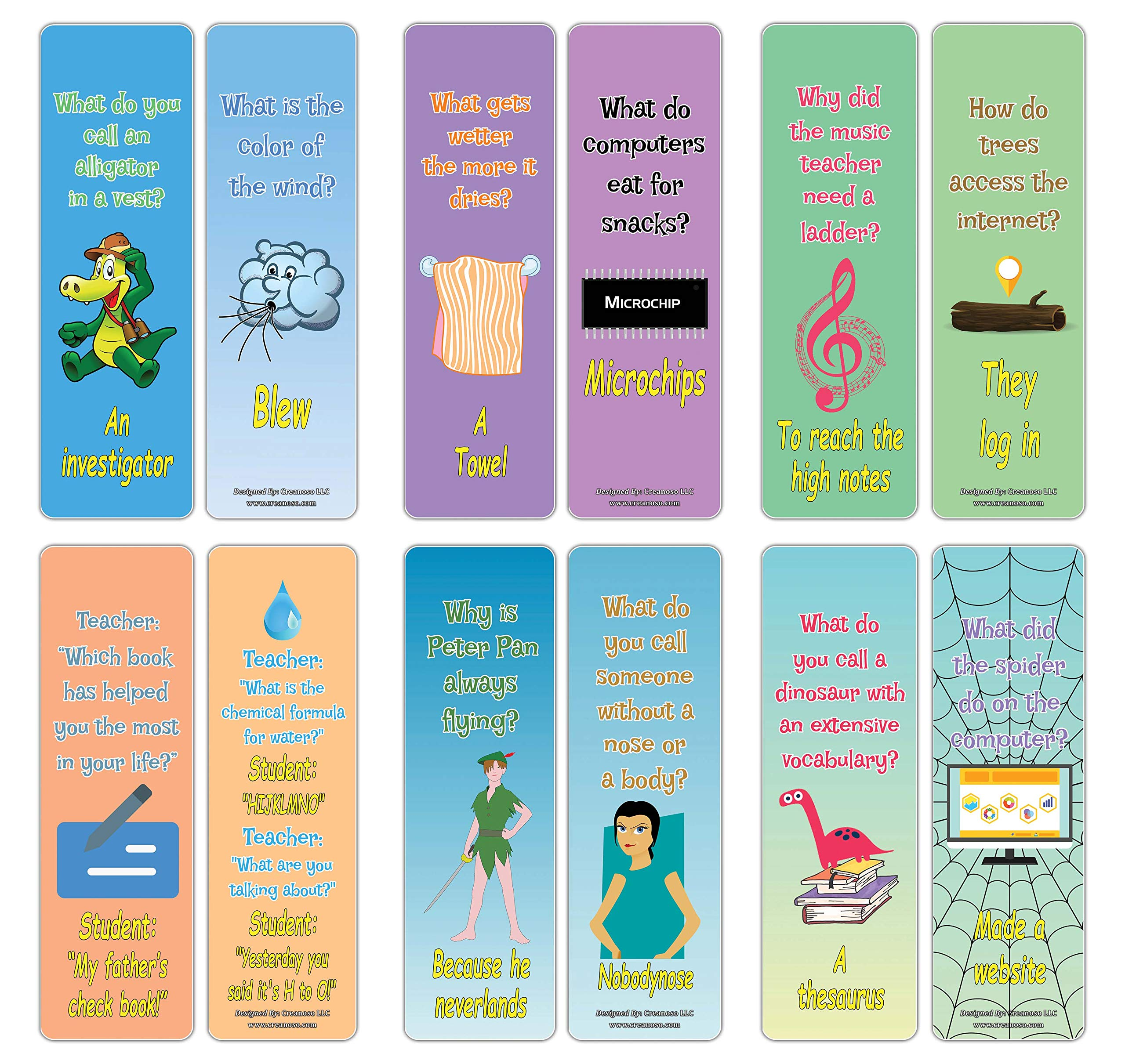 Creanoso Hilariously Silly and Funny Jokes Series 5 Bookmarks Cards (30-Pack) - Party Favors Teacher Classroom Reading Rewards and Incentive Gifts for Boys & Girls – Party Supplies – Art Decal