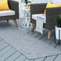 Tayse Josie Charcoal Outdoor 2x10 Runner Area Rug for Hallway, Walkway, Entryway, or Foyer - Modern, Stripe