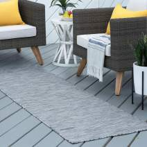 Tayse Josie Charcoal Outdoor 2x10 Runner Area Rug for Hallway, Walkway, Entryway, or Foyer - Modern, Stripe