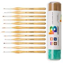 Miniature Paint Brushes by LEDGEBAY | Fine Tip Brush Set for Micro Detail | Hand Crafted, Perfectly Balanced and Weighted Wood Handles, Taklon Bristles for Model, Acrylic, Oil, Watercolor (12, Wood)