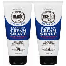 Razorless Shaving Cream for Men by SoftSheen-Carson Magic, Hair Removal Cream, Regular Strength for Normal Beards, No Razor Needed, Depilatory cream works in 4 Minutes for Coarse Curly Hair, 2 Count